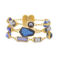 CATHERINE MALANDRINO Blue Multi-Tonal Multi Strand Rolo Chain Yellow Gold-Tone Bracelet for Women