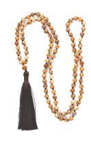 Lulu Dharma Indian Agate Mala Beads Necklace, Buddhist Prayer Beads, Tibetan Prayer Beads, Tassel Necklace, Rosary Jewelry - MSRP $76