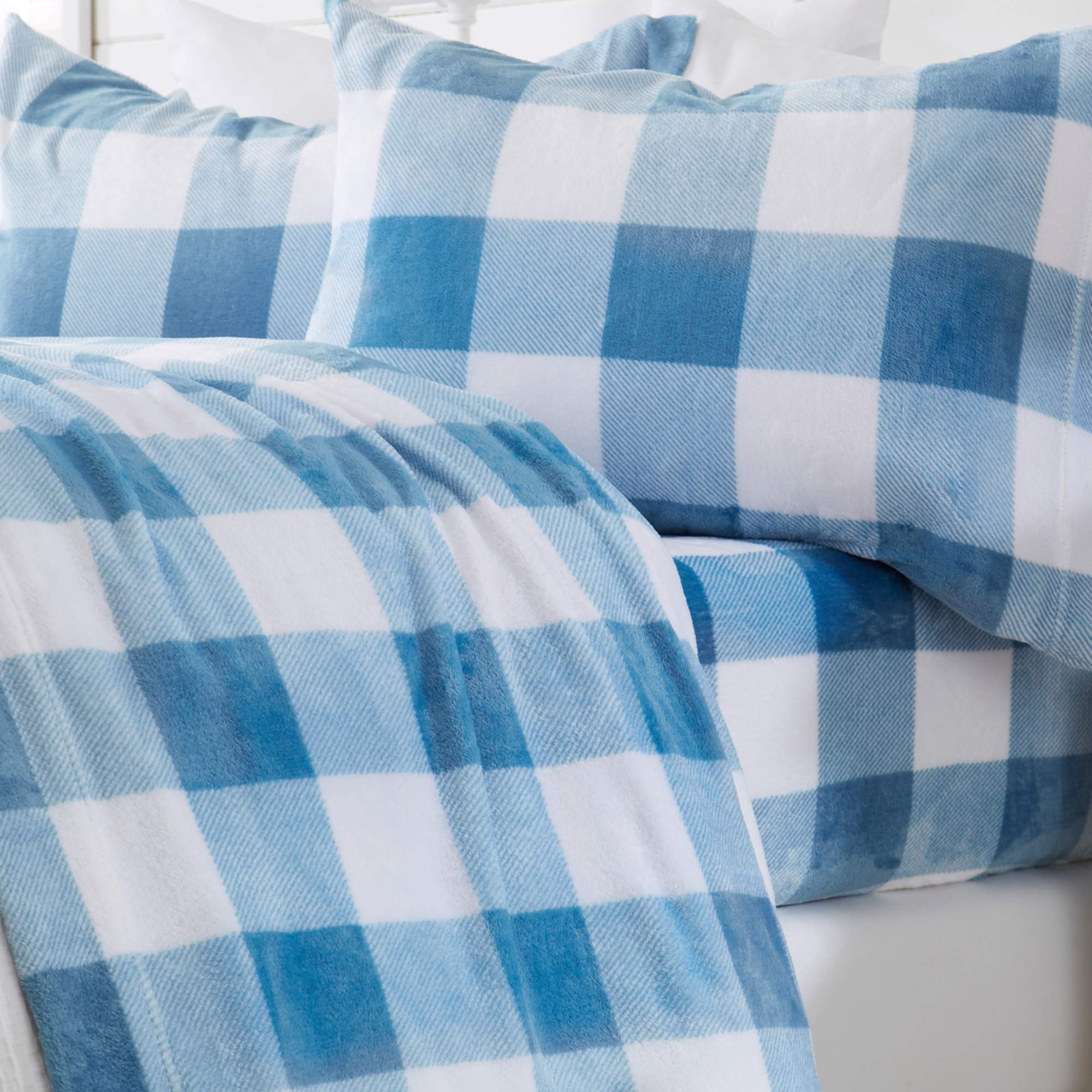 Great Bay Home Extra Soft Cozy Velvet Plush Sheet Set. Deluxe Bed Sheets with Deep Pockets. Velvet Luxe Collection (Twin, Buffalo Check - Stone Blue)