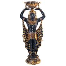 Design Toscano Cleopatra's Nubian Guard Egyptian Pedestal Urn Plant Stand Statue, 4 Feet, Multicolored