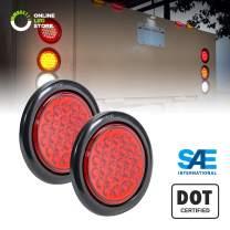 "2pc 4"" Red Round LED Trailer Tail Light Kit [DOT FMVSS 108] [SAE STI] [24 LED] [Grommet & Plug Included] [IP67 Waterproof] [Stop Turn Tail] Trailer Brake Lights for Boat Trailer RV Trucks"