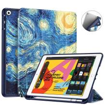 """Fintie SlimShell Case for New iPad 7th Generation 10.2 Inch 2019 with Built-in Pencil Holder - Lightweight Smart Stand Soft TPU Back Cover, Auto Wake/Sleep for iPad 10.2"""" Tablet, Starry Night"""