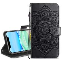 HianDier Wallet Case for iPhone 11 Card Holder Case Kickstand Flip Cover Embossed Mandala Flower Lanyard Protective Soft PU Leather Cover Case for 2019 Release iPhone 11 iPhone XI, Black