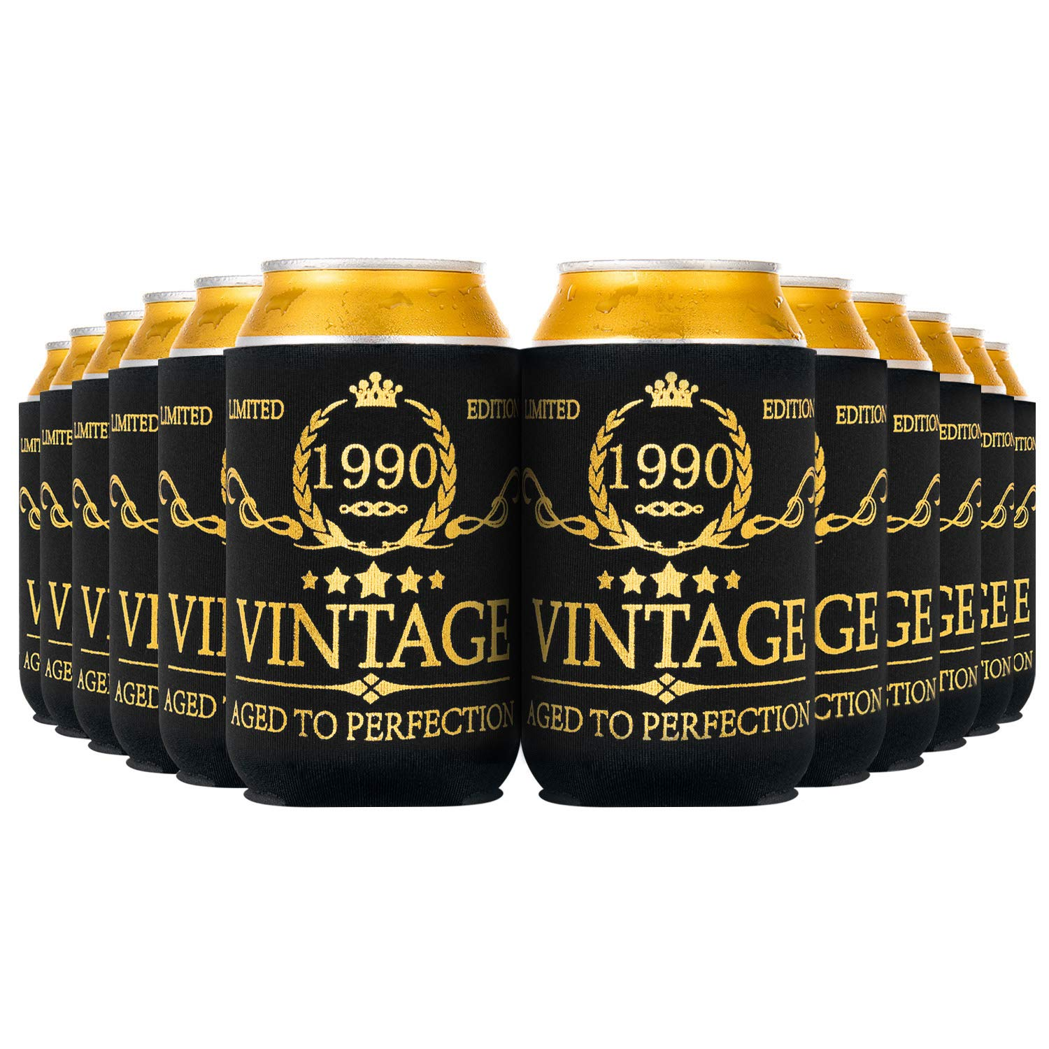 Crisky Vintage 1990 Can Coolers 30th Birthday Beer Sleeve Party Favor 30th Birthday Decoarions Black and Gold, Can Insulated Covers Neoprene Coolers for Soda, Beer, Beverage