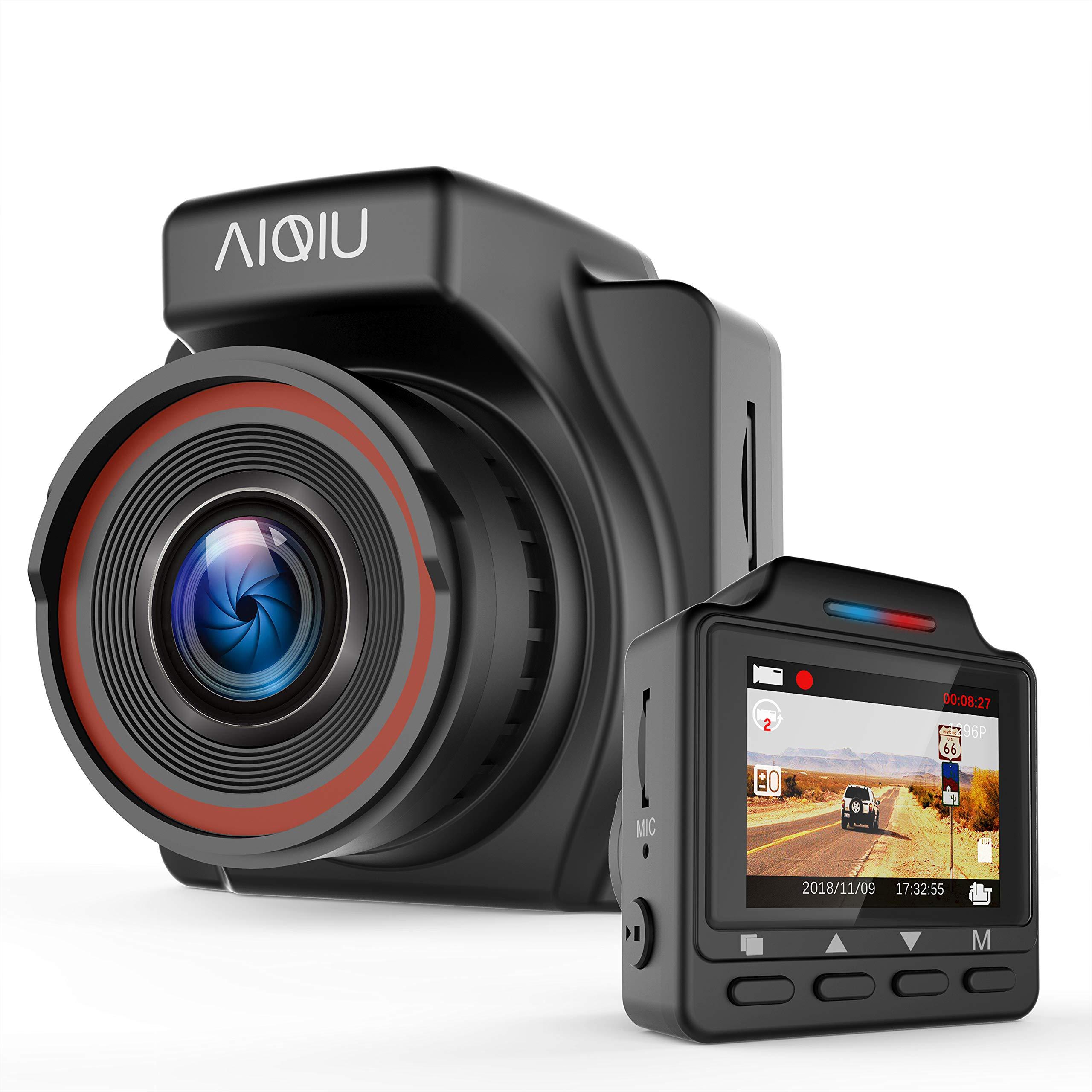 "AIQiu AM000C1 Dash Cam, 1296P FHD Car Driving Recorder 1.5"" Mini Night Vision Vehicle Dashboard Camera with G - Sensor, Black"