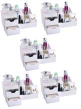 Mantello Makeup Organizer Vanity Organizer with Drawers, White (5 Pack)