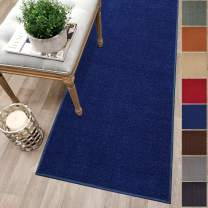 Custom Size Blue Solid Plain Rubber Backed Non-Slip Hallway Stair Runner Rug Carpet 22 inch Wide Choose Your Length 22in X 1ft