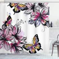 """Ambesonne Floral Shower Curtain, Flower Blooms Botany Bouquets with Colorful Butterflies Paintbrush Watercolor Print, Cloth Fabric Bathroom Decor Set with Hooks, 70"""" Long, Pink Black"""