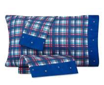 Nautica Nautical Plaid Cotton-Rich Kids Sheet Set (Navy/Red/White w/Navy Cuff, Full)