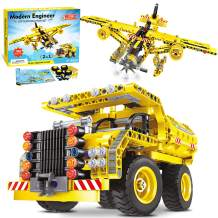 HOMOFY STEM Building Toys for Kids for 5 Years Old Birthday Gifts for Ten Year Old Boys 2 in 1 Model Dump Truck&Airplane 361 PCS DIY Construction Set for 8 9 10 11 12 Years Old Boys Girls Kids Gifts