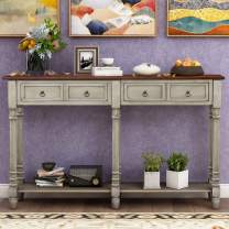 Console Table Sofa Table with Storage Console Tables for Entryway with Drawers and Shelf Rectangular Living Room Table Solid Wood Long (Antique Grey)