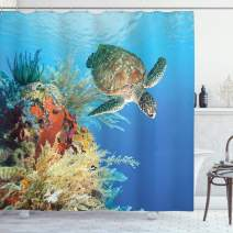 "Ambesonne Turtle Shower Curtain, Colorful Underwater with Turtle Swimming Among The Coral Reef Scenic Exotic View, Cloth Fabric Bathroom Decor Set with Hooks, 75"" Long, Ocean Blue"
