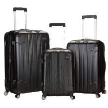 Rockland London Hardside Spinner Wheel Luggage, Black, 3-Piece Set (20/24/28)