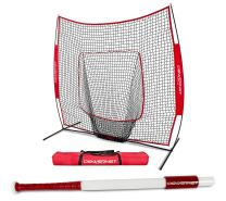 PowerNet Baseball Softball 7x7 Practice Net + Sweet Spot Bat Bundle | Develop Proper Swing Technique and Hitting Location | Training Equipment for Batting Drills | Soft Toss Batting Warmup