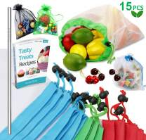 Reusable Produce Bags, 15PCS -12 Washable Mesh Bag, 2 Mini Bag, 1 Metal Straw, with Eco Friendly Toy Fruit Vegetable Produce Bags with Drawstrings for Home Shopping Grocery - 3 Various Sizes