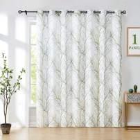 Fmfunctex Green-White Sliding Door Curtain 84 inches Long Grey Branch Print Patio Door Panel Tree Semi Sheer Curtains Linen Textured Look Window Drapes 100 inch Wide 1 Panel Grommet Top 7ft