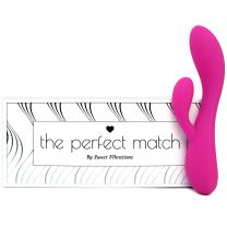 The Perfect Match - Flexible Rabbit Vibrator Sex Toy with 10 Powerful Settings for Women & Couples, Waterproof, Rechargeable, Quiet, by Sweet Vibrations (Pink)