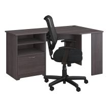 Bush Furniture Cabot Corner Desk and Office Chair in Heather Gray