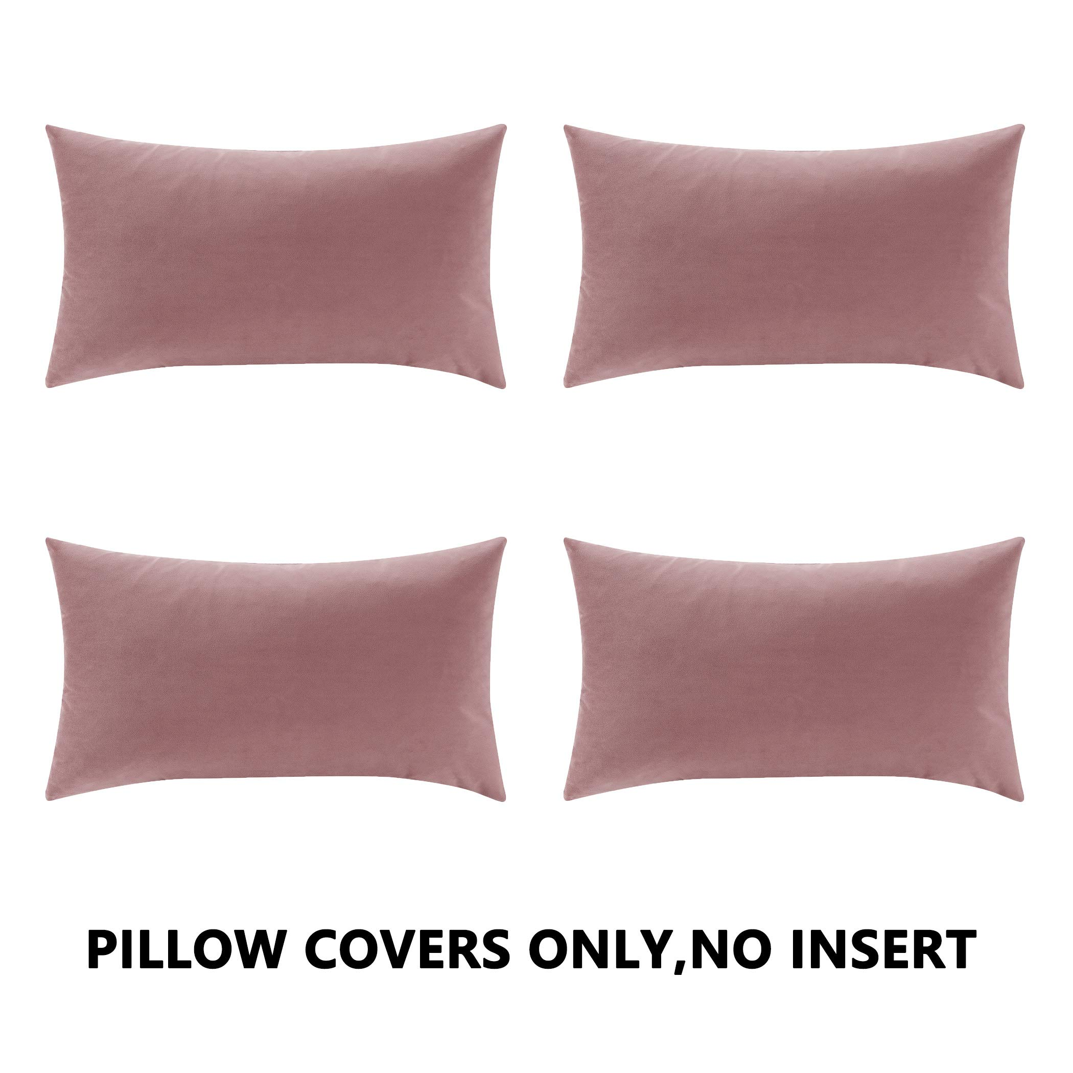 COMFORTLAND New Year/Christmas Decorative Pillow Covers 12x20 Dusty Rose Pink: 4 Pack Cozy Soft Velvet Rectangular Throw Pillow Cases for Farmhouse Sofa Couch Bed Chair Home Decor Decorations