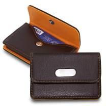 SAITECH IT Pocket Sized Stitched Leather Credit Debit Visiting Business Card Holder For Men Women (Orange Brown)