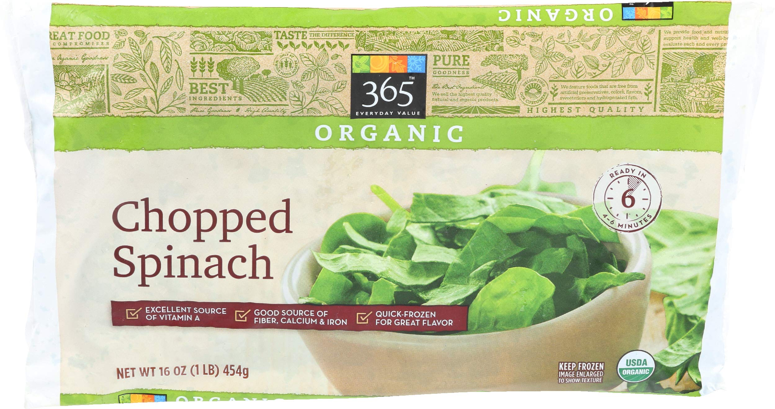 365 Everyday Value, Organic Chopped Spinach, 16 oz, (Frozen)