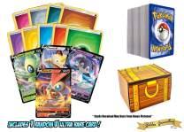 200 Pokemon Card Lot - 100 Pokemon Cards - 1 Sword & Shield V Ultra Rare Foils - 100 Energy! Includes a Golden Groundhog Treasure Chest Box!