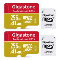 Gigastone 256GB 2-Pack Micro SD Card, Professional 4K Ultra HD, High Speed 4K UHD Gaming, Micro SDXC UHS-I U3 C10 Class 10 100MB/s Memory Card with Adapter, 5-Year Warranty