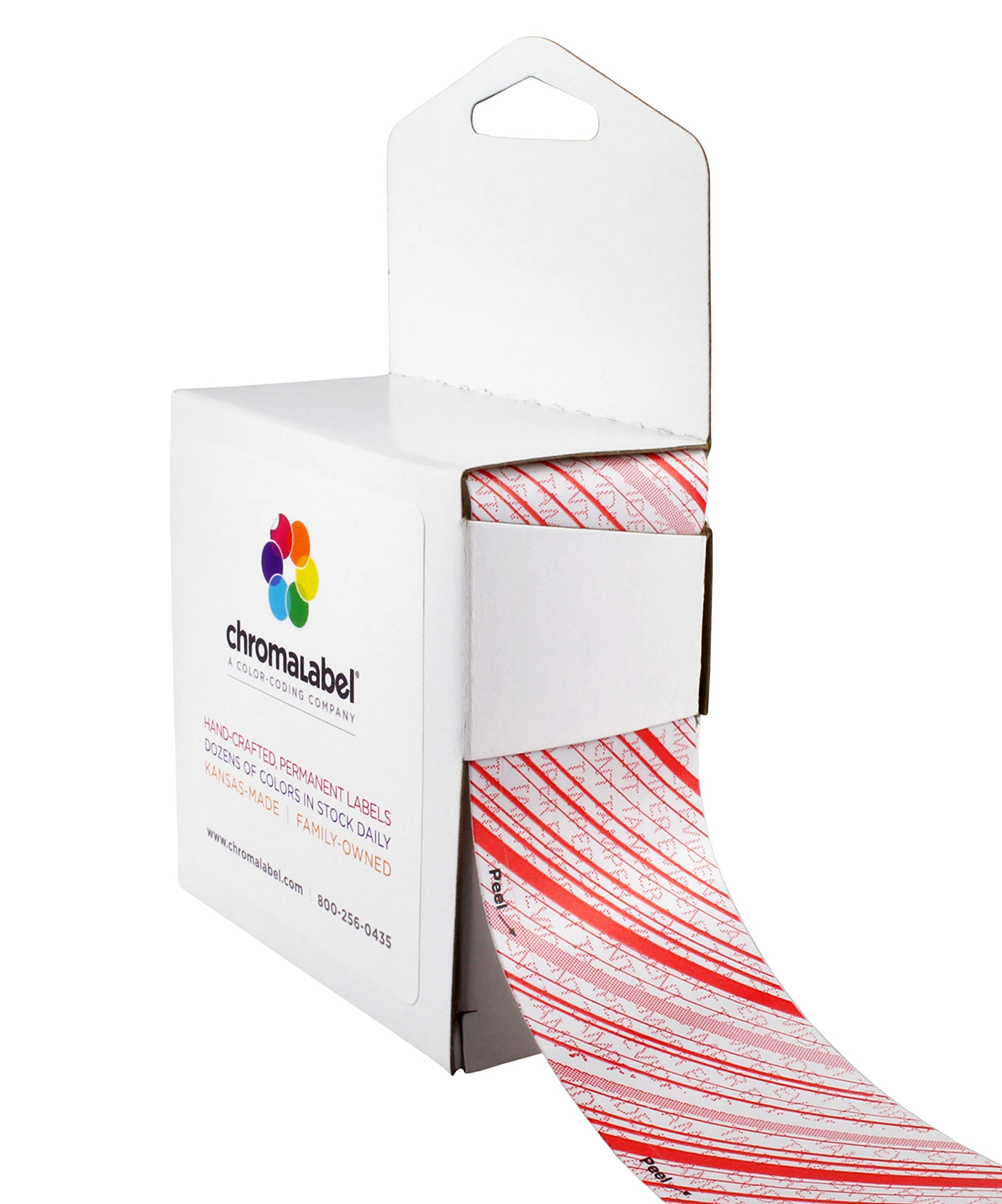 ChromaLabel 1-3/8 Inch Tamper Evident Security Tape, 480 Inch Roll in Dispenser Box, Red and White with Diagonal Lines