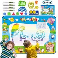 "Kulariworld Water Drawing Mat Kids Toys Large Size 8 Colors Aqua Magic Doodlel Painting Mats 40""x 28"" Educational Xmas Birthday Gift for Girls Boys Toddlers Age 2 3 4 5 6"