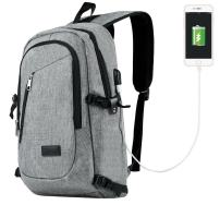 Travelambo Business Water Resistant Polyester Backpack with USB Charging Port and Lock Fits Under 17-Inch Laptop (gray)