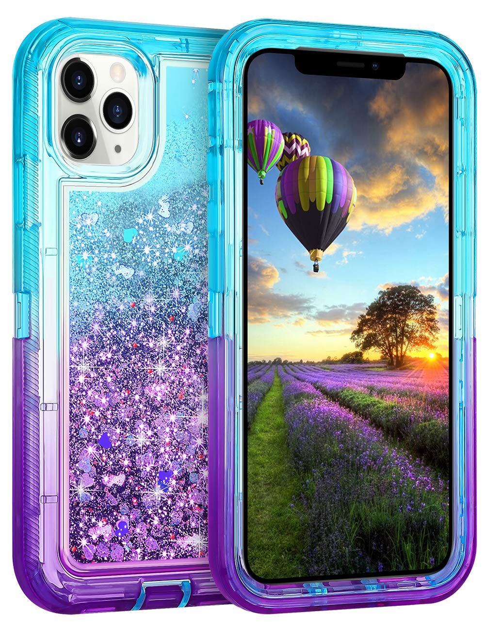 Coolden Case for iPhone 11 Pro MAX Cases Protective Glitter Case for Women Girls Cute Bling Sparkle Heavy Duty Hard Shell Shockproof TPU Case for 2019 Release 6.5 Inches iPhone 11 Pro MAX, Aqua Purple