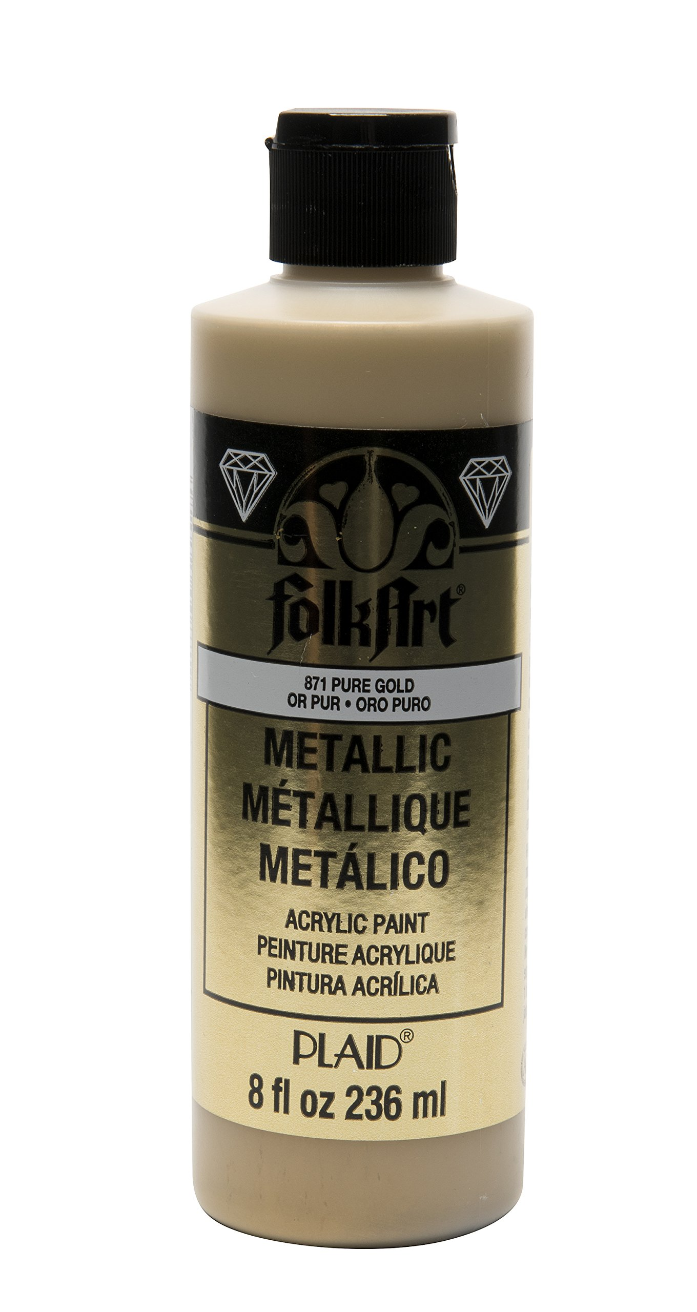 FolkArt Acrylic Paint in Assorted Colors (8 oz), J871, Pure Gold