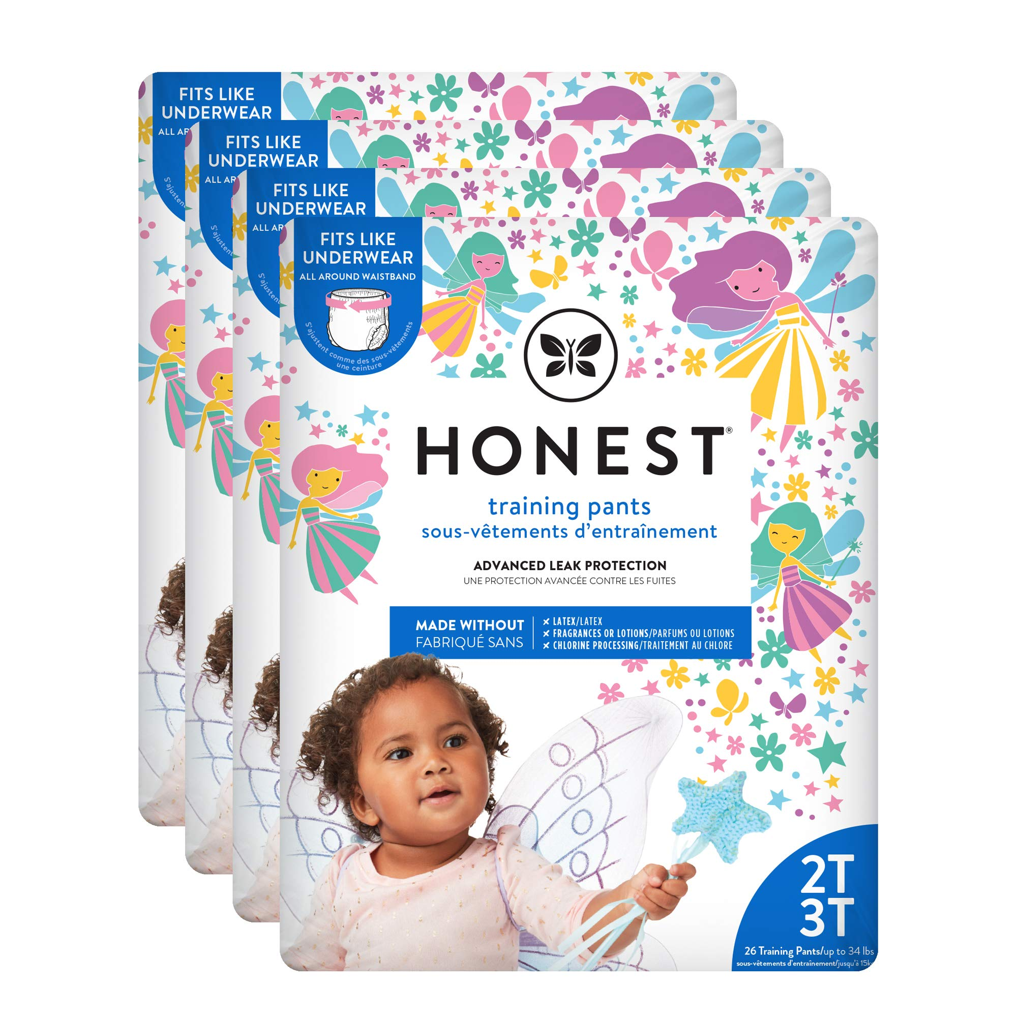 The Honest Company Toddler Training Pants   Fairies   2T/3T   104 Count   Eco-Friendly   Underwear-Like Fit   Stretchy Waistband & Tearaway Sides   Perfect for Potty Training
