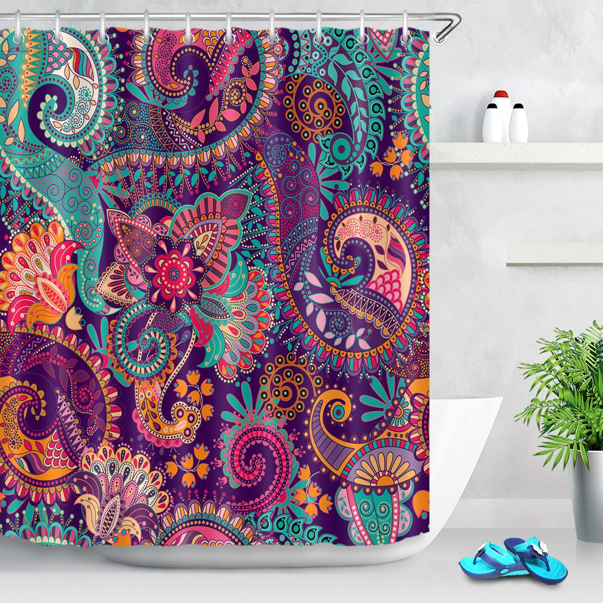 LB Indian Bohemian Shower Curtain Mandala Print Colorful Paisley Pattern Peace Sign Curtains Tribal Shower Curtains for Bathroom Waterproof Eco-Friendly Fabric 78x72 Inch with 12 Hooks,Purple