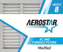 Aerostar 16x25x2 MERV 8, Pleated Air Filter, 16x25x2, Box of 6, Made in The USA