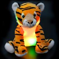Athoinsu Light up Tiger Stuffed Animals with LED Night Light Glow in Dark Soft Plush Toy Birthday for Toddlers Kids, 11''