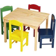 Amazon Basics Kids Wood Table and 4 Chair Set, Natural Table, Assorted Color Chairs