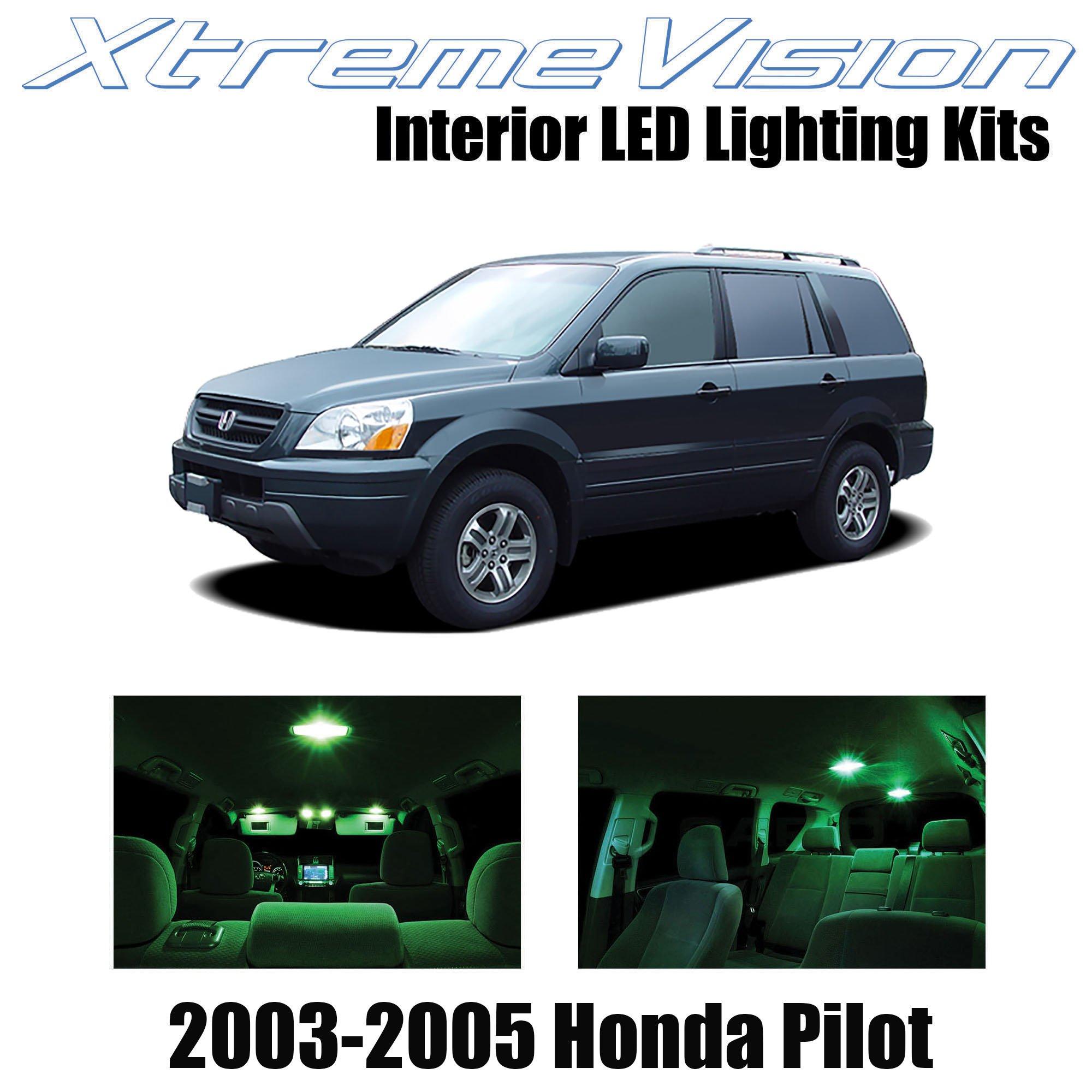 Xtremevision Interior LED for Honda Pilot 2003-2005 (10 Pieces) Green Interior LED Kit + Installation Tool