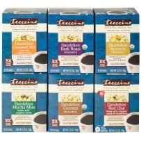 Teeccino Dandelion Tea Variety Pack - Dark Roast, Caramel Nut, Mocha Mint, Turmeric, Red Chai, Coconut – Acid Free Coffee Alternative   Prebiotic   Gluten Free   Caffeine Free   10 Tea Bag (Pack of 6)