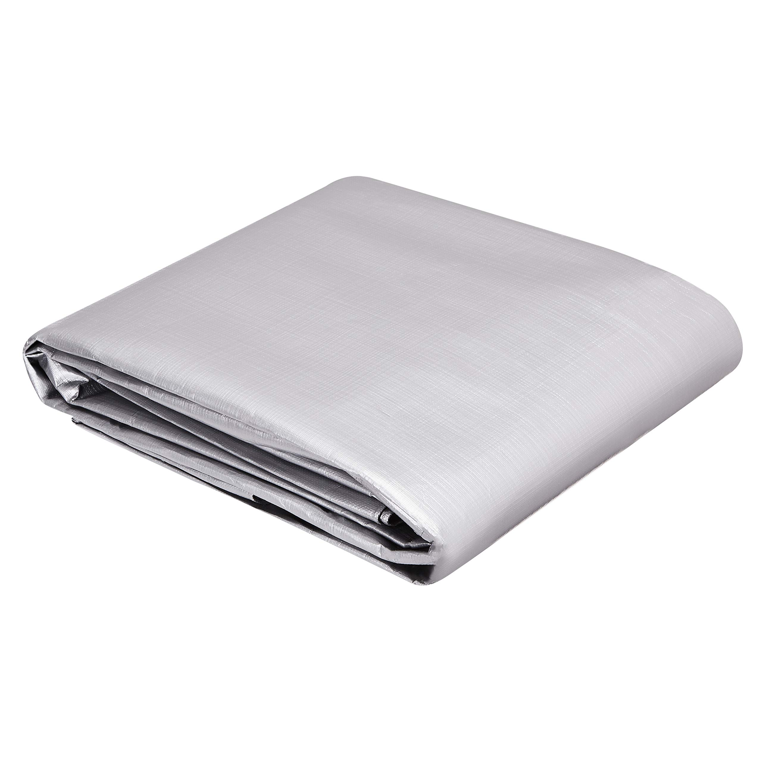 AmazonCommercial Multi Purpose Waterproof Poly Tarp Cover, 12 X 16 FT, 16MIL Thick, Silver/Black, 2-Pack