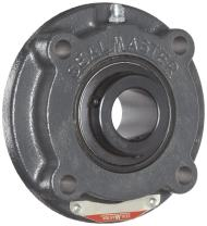 """Sealmaster MFC-40 Medium Duty Piloted Flange Cartridge, 4 Bolt, Regreasable, Felt Seals, Setscrew Locking Collar, Cast Iron Housing, 2-1/2"""" Bore, 7-5/8"""" Overall Length, 4.596"""" Bolt Hole Spacing Width, 9/16"""" Flange Height, ±2 Degrees Misalignment Angle"""