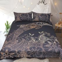 Sleepwish Dolphin Bedding Mandala Flower Printed Black and Gold Duvet Cover Black Floral Bed Set (Dolphin, Full)