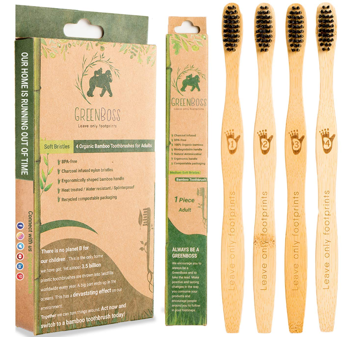 GreenBoss Bamboo Toothbrush with Charcoal Infused Bristles (Medium-Soft)   Pack of 4 Eco-friendly, 100% Organic and Biodegradable Toothbrushes for Adults (Adult 4 Pack)