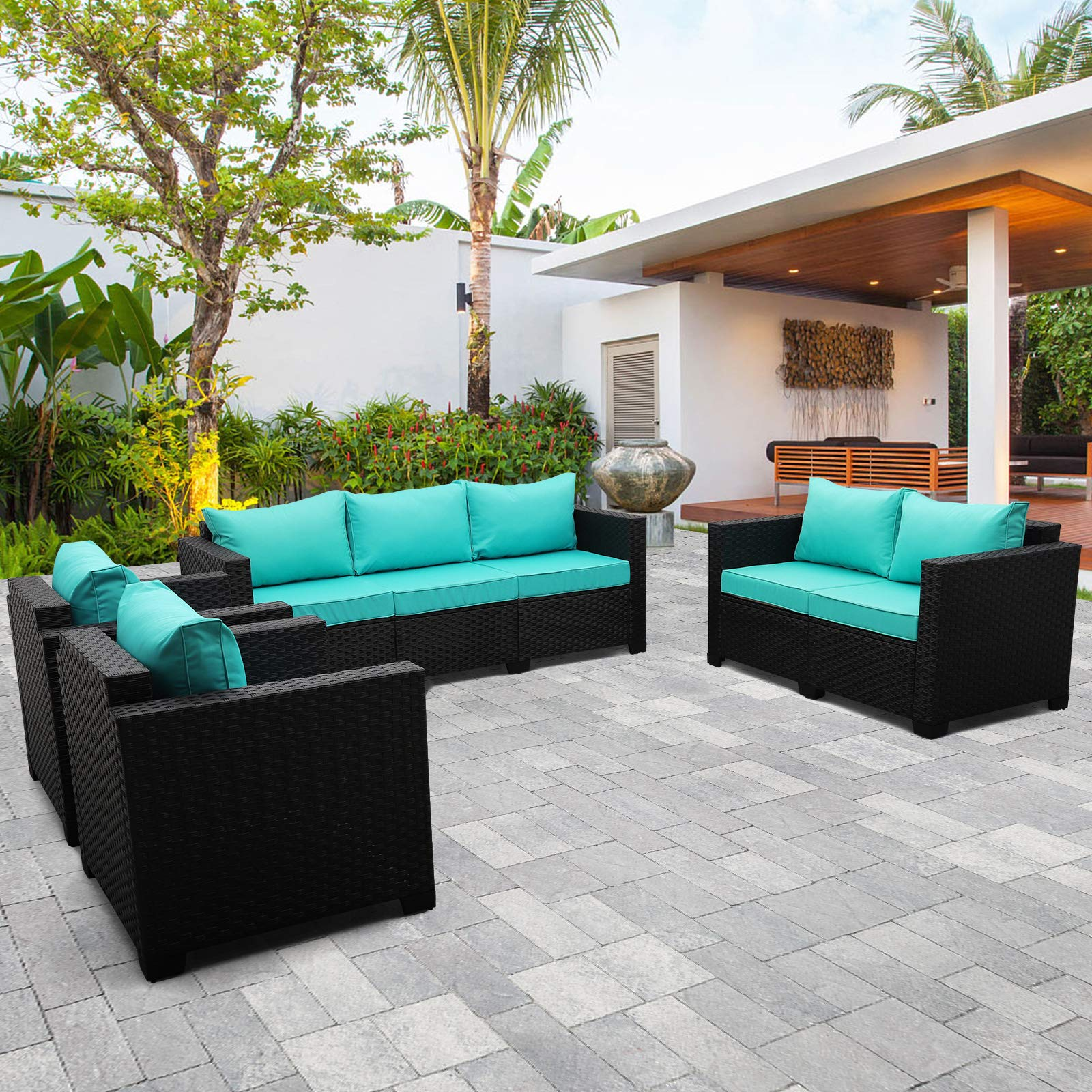 Outdoor Wicker Furniture Set 4 Pieces, PE Rattan Patio Sectional Sofa Couch Set with Turquoise Cushions and Furniture Covers
