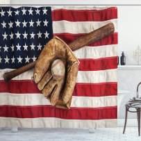 "Ambesonne Baseball Shower Curtain, Vintage Baseball League Equipment USA Grunge Glove Bat Fielding Sports Theme, Cloth Fabric Bathroom Decor Set with Hooks, 75"" Long, Brown Red"