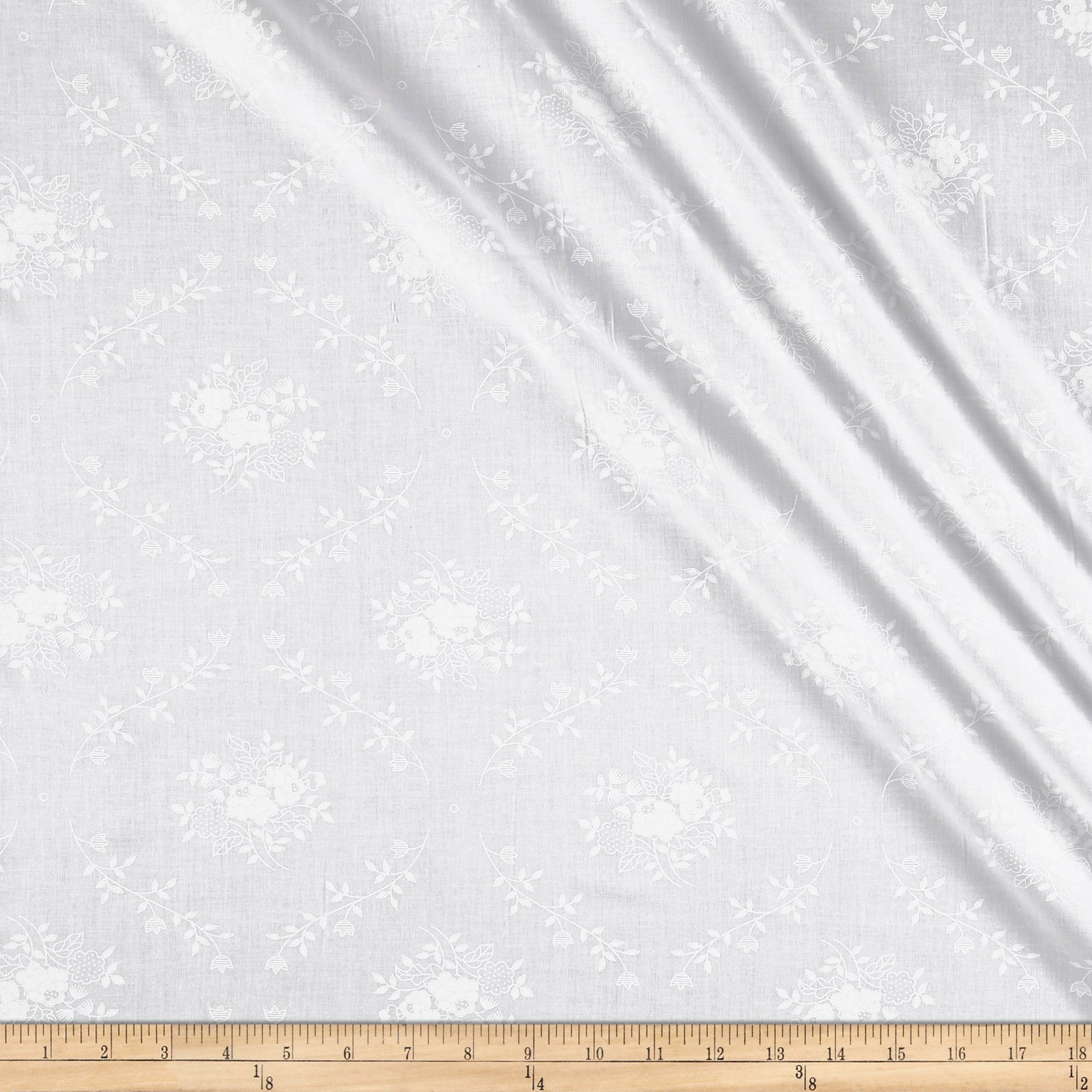 """Santee Print Works White 108"""" Wide Back Monotones Floral Vine Fabric by The Yard"""