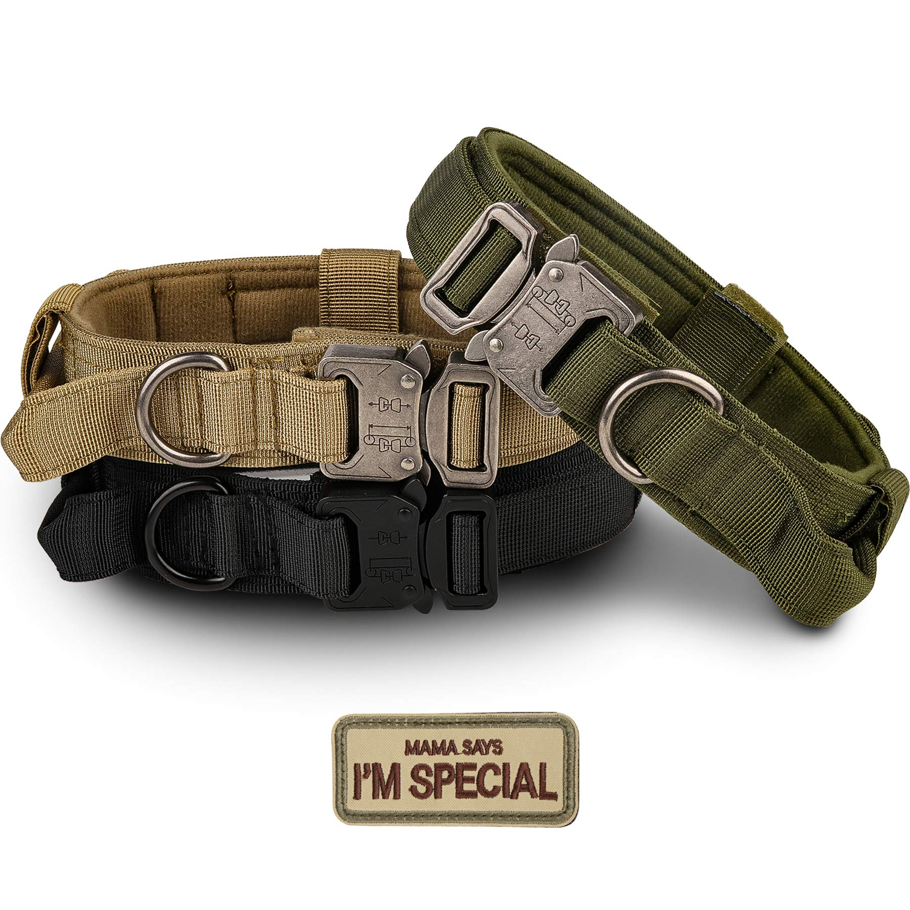 Tactical Dog Collar - KCUCOP Military Dog Collar with Mama Says I m Special Patch Thick with Handle K9 Collar Tactipup Dog Collars Adjustable Heavy Duty Metal Buckle for M,L,XL Dogs(Green,M)