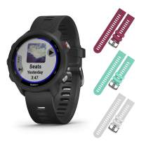 Garmin Forerunner 245 GPS Running Smartwatch with Included Wearable4U 3 Straps Bundle (Black Music 010-02120-20, Berry/Teal/White)