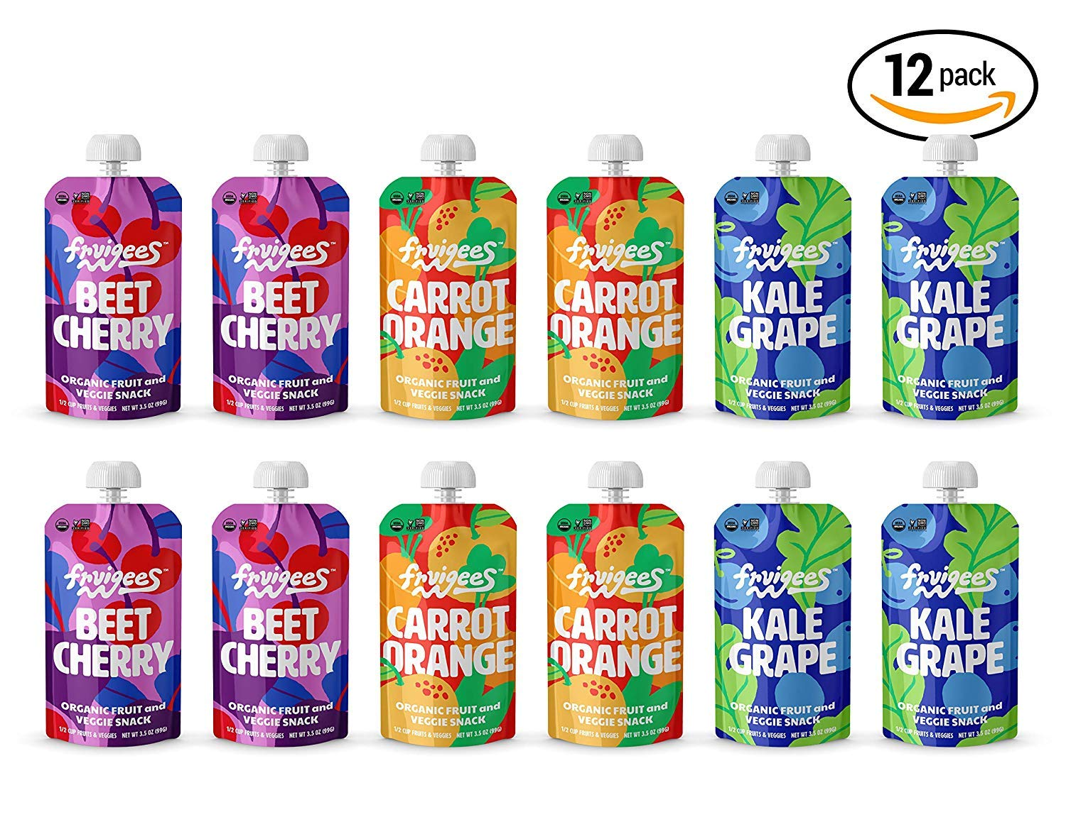 Fruigees Superfood Smoother than a Smoothie Squeeze Snack Pouches | Organic • Non-GMO • Kosher • Vegan • Gluten Free | Made from 100% Fruit & Veggie Juice | 12 ct Variety Pack …