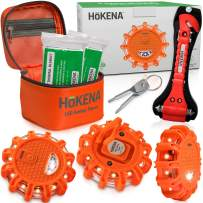 HOKENA LED Road Flares Emergency Lights - Roadside Warning Car Safety Flare Kit for Vehicles & Boat | 3 Beacon Disc Pack with Tools for Easy Battery Replacement & Bonus Seatbelt Cutter